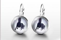 Kolczyki - Czarny koń - bigle angielskie
