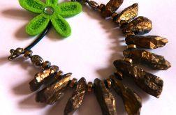 Kwarc z pirytem, złote kamienie, naszyjnik