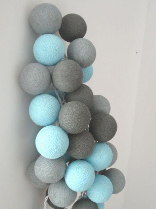 "Cotton balls lights - girlandy ""Turkus"""