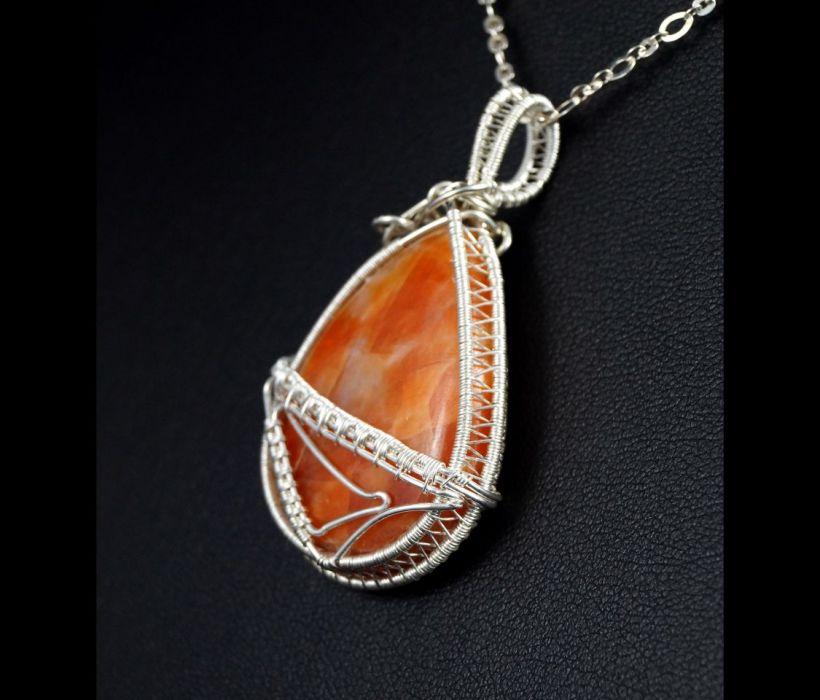 Kalcyt, srebrny wisior z kalcytem pomarańcz - srebrny wisior wire wrapped