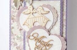 Kartka ślubna fioletowa G27