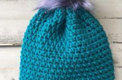 Turkusowa czapka z szarym pomponem beanie