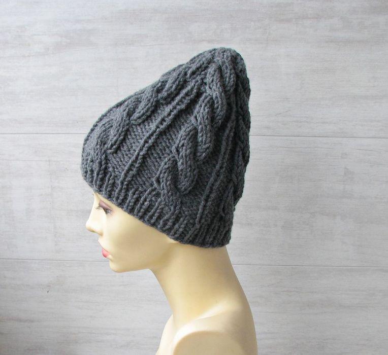 Zimowa czapka w warkocze w kolorze stalowym. - czapka unisex