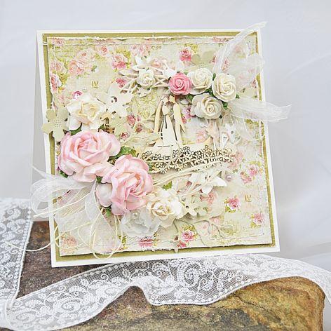 Kartka ślubna z parą w gondoli