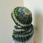 Czapka z kominem - komin i czapka zielone