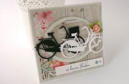 Rowery w drewnie - kartka ślubna