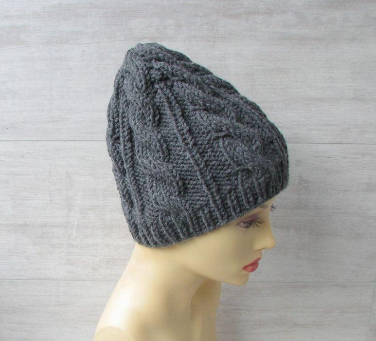 Zimowa czapka w warkocze w kolorze stalowym. - modna czapka