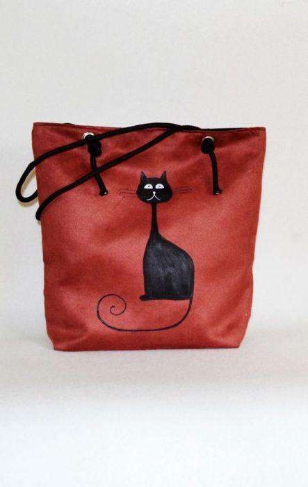 eb340d8378f46 Zamszowa torba z kotem xxl - UniQueBags