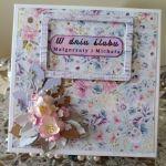 Kartka ślubna kwiaty z foamiranu - Pudełko na kartkę