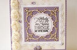 Kartka ślubna fioletowa