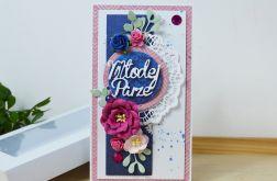 Kartka ślubna - atrament i róż