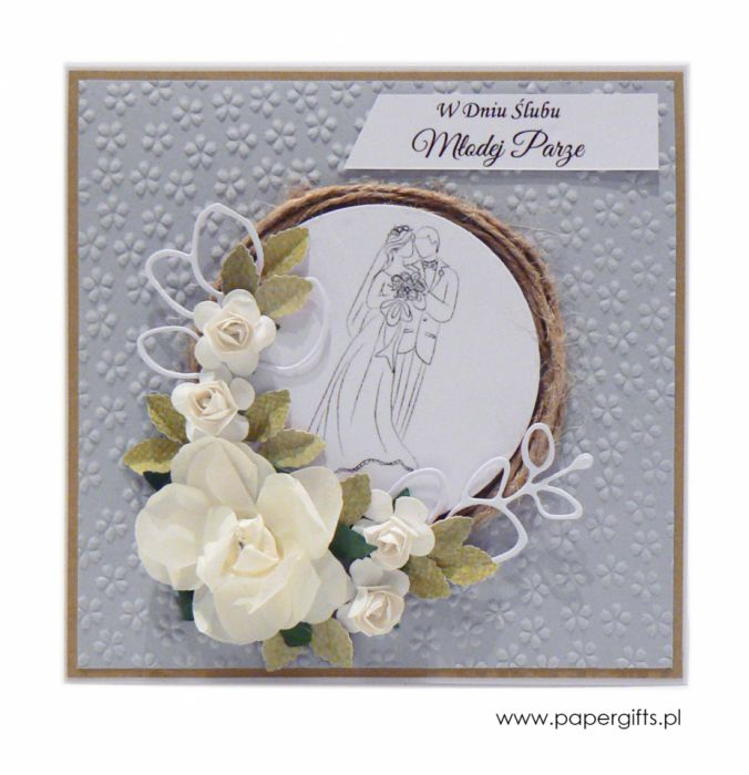 Kartka ślubna szara wianek ręcznie robiona