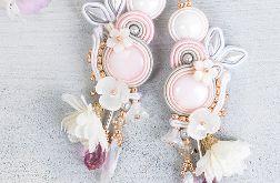 Kolczyki ślubne sutasz Białe Kwiaty