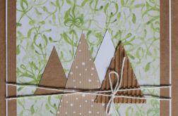 Kartka świąteczna eko choinki sznurek