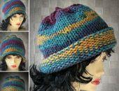 Boho Style Czapka zimowa gruba kolorowa