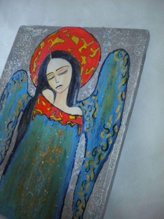 Anioł w kolorach niebieskich /ikon/
