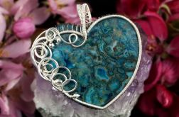 Agat koronkowy, Srebrny wisior z Agatem blue