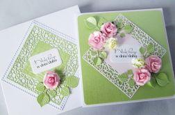 Kartka MŁODEJ PARZE zielono-różowa