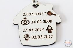 BRELOK do kluczy domek PERSONALIZOWANE daty