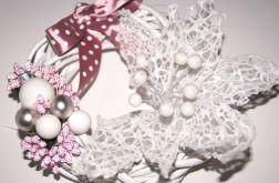 stroik świąteczny jasny róż