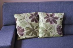 Poszewka dekor. - brązowe kwiaty na oliwkowym tle