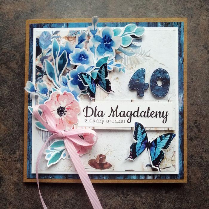 Kartka dla kobiety eko niebieska PDK 055 - Kartka dla kobiety eko niebieskie z motylkami (4)