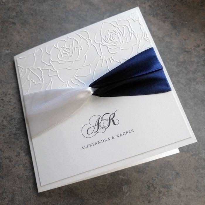 zaproszenia ślubne biało granatowe 028 - przód 2
