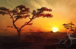 Obraz - Afryka 1 - płótno - malowany, pejzaż, krajobraz