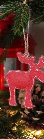 Świąteczna zawieszka ze skóry - ŁOŚ