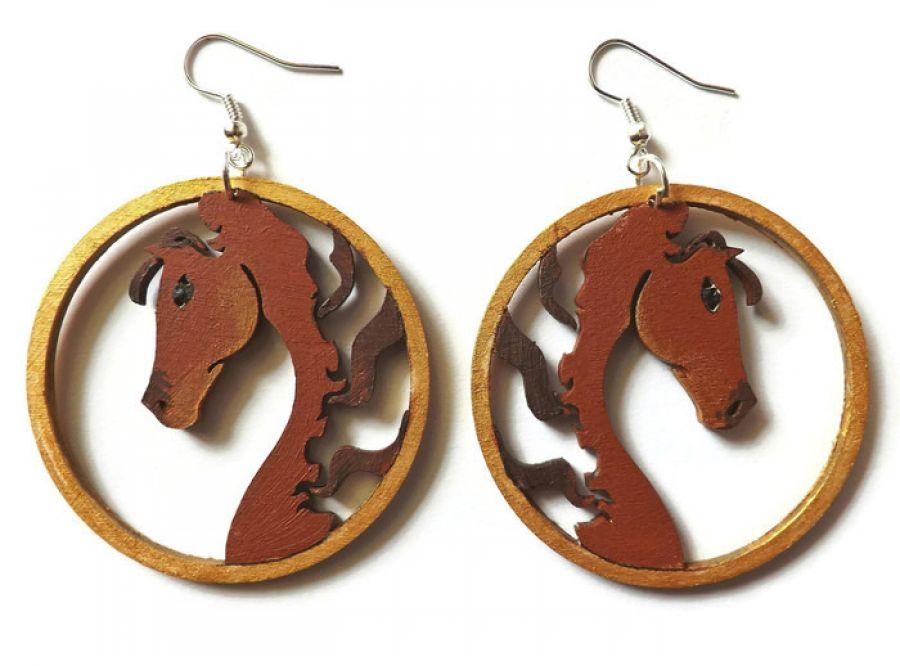 Kolczyki drewniane, malowane - Konie 2