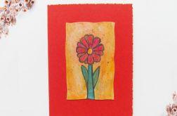 Kartka uniwersalna czerwona z kwiatkiem  4