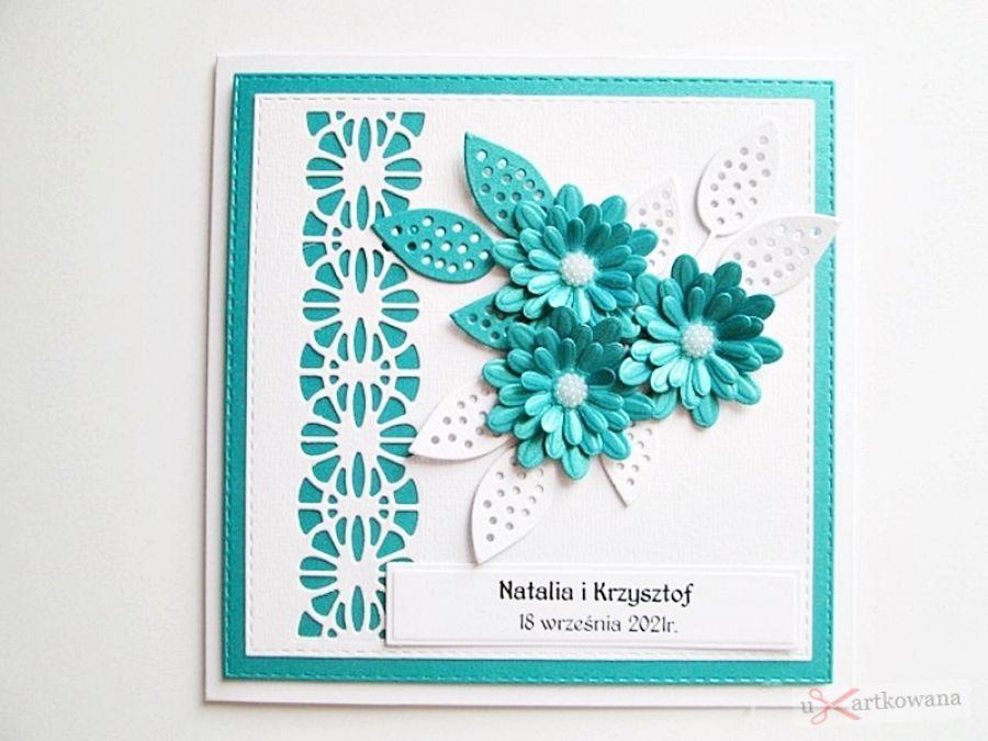 Kartka ŚLUBNA - turkusowe stokrotki - Kartka na ślub z turkusowymi kwiatami