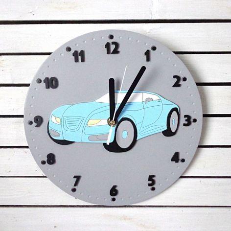 Zegar dla chłopca z autem sportowym