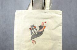 Pani z Kotem, torba malowana z długimi uchami