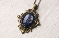 Naszyjnik z malowanym szkłem, niebieski
