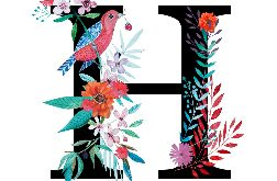 Alfabet H wydruk ilustracji