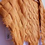 Chusta w kolorze musztardowym - Ręcznie wykonana chusta
