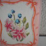 Kartka haftowana - lilie - widok