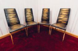 Zestaw 4 ręcznie malowanych krzeseł vintage