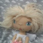 ANIOŁEK lalka - dekoracja tekstylna, OOAK/29 - mam różowe włosy