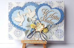 Kartka ślubna z serduszkami niebieska 3617