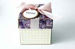 żółto-fioletowe pudełko ślubne