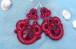 Mega duże Czerwone z Kryształkami kolczyki