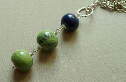 Chryzotyn i lapis lazuli_długi wisiorek
