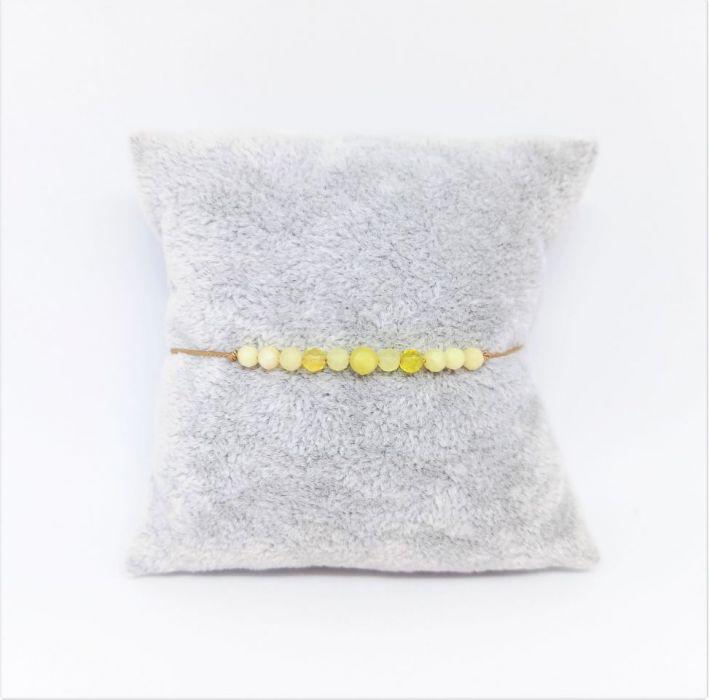 Bransoletka mocy: żółty opal - żółty opal na jedwabnej nitce