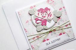 Kartka UNIWERSALNA popielato-różowa