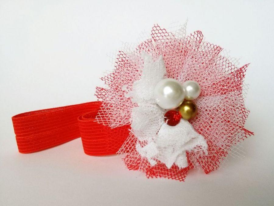 Tiulowa opaska czerwona biała na święta