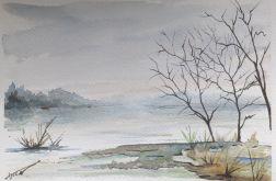 Obraz na ścianę akwarela Bez Krzyku mgła woda