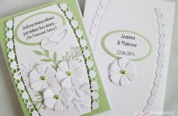 Kartka ŚLUBNA biało-zielona z cytatem