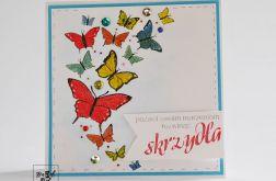 Kartka z kolorowymi motylami